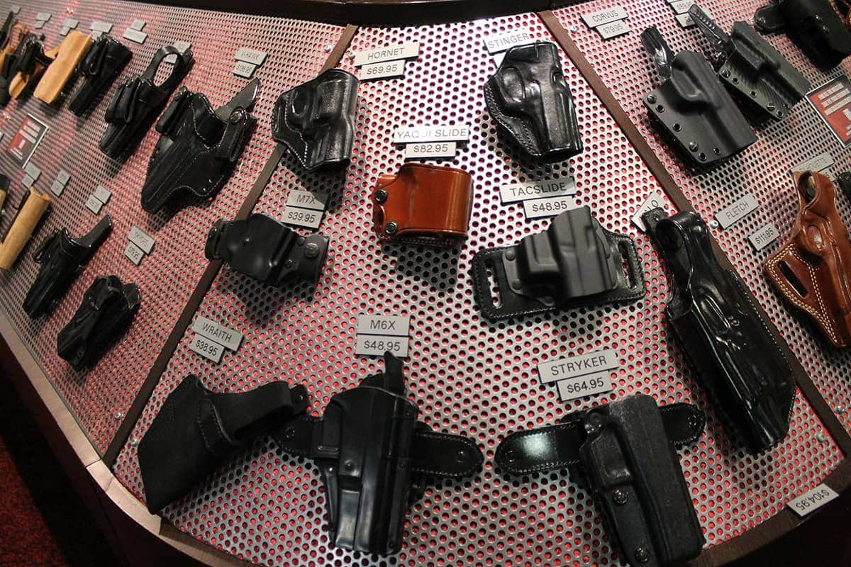 Many Holsters On a Table